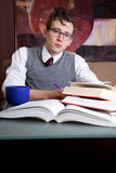 Preppy student studying Royalty Free Stock Photos