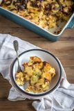 Prepred and served traditional Greek moussaka. With potatoes,selective focus Stock Photos