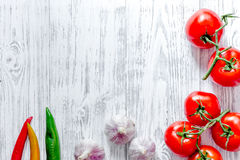 Dinner Table Background prepring for cooking dinner. vegetables on wooden table background