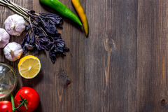 Prepring for cooking dinner. Vegetables on wooden table background top view copyspace Stock Images