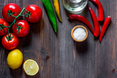 Prepring for cooking dinner. Vegetables on wooden table background top view copyspace Stock Image