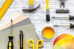 Preraring for home repair. Tools on grey wooden desk background top view copyspace Royalty Free Stock Photography
