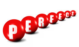 Prerfect word made of 3D spheres Stock Photography