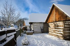 Traditional peasant architecture in open-air museum in Prerov na. PREROV, CZECH REPUBLIC - DEC 18, 2015: traditional peasant architecture in open-air museum in royalty free stock images