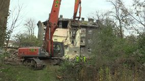 PREROV, CZECH REPUBLIC, NOVEMBER 1, 2017: The house for the staff of the train station then the former Gypsy ghetto of. The house for the staff of the train stock video footage