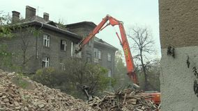 PREROV, CZECH REPUBLIC, NOVEMBER 1, 2017: The house for the staff of the train station then the former Gypsy ghetto of. The house for the staff of the train stock video