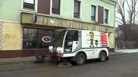PREROV, CZECH REPUBLIC, NOVEMBER 17, 2017: Road sweeper, special modern cleaning car and vacuum cleaner rubbish in the. Road sweeper, special modern cleaning car stock video