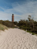 Prerow lighthouse. Beach access to the lighthouse prerow Royalty Free Stock Image
