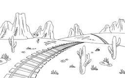 Preryjnej linii kolejowej amerykanina pustyni nakreślenia krajobrazu ilustraci graficzny czarny biały wektor Zdjęcia Stock