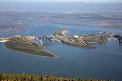 Presa de Cunovo en el río Danubio - la Eslovaquia Imágenes de archivo libres de regalías