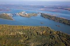 Presa de Cunovo en el río Danubio - la Eslovaquia Imagen de archivo libre de regalías