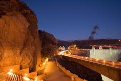 Presa de Hoover en la noche Foto de archivo libre de regalías