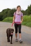 Presa del cane di Labrador per una passeggiata Immagine Stock Libera da Diritti