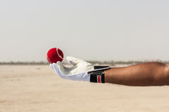 Presa del fermo della palla rossa con le mani Immagini Stock Libere da Diritti
