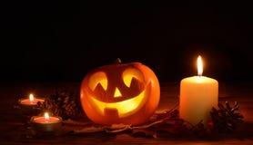 Presa-o-lanterna spaventosa delle zucche di Halloween Fotografie Stock Libere da Diritti