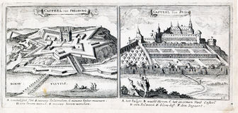 Presburg伟大的土耳其战争的Buda城堡和城堡  库存照片