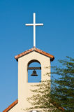 Presbyterian Church. Bell tower and cross on top of a church Royalty Free Stock Images