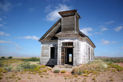 Presbyterian church. The remains of a first presbyterian church built in Taiban, NM, USA in 1908 stand guard over the high prairie of eastern New Mexico Royalty Free Stock Photos