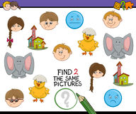 Preschool activity for kids. Cartoon Illustration of Find Exactly the Same Pictures Educational Activity for Preschool Children Royalty Free Stock Photos