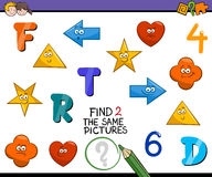 Preschool activity for kids. Cartoon Illustration of Find Identical Pictures Educational Activity for Preschool Children Royalty Free Stock Images