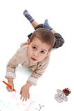 Preschool aged boy drawing stock photo