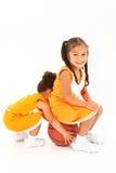 Preschool Basketball Team-mates over white. Stock Photos