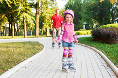 Preschool beginner in roller skates Royalty Free Stock Photos
