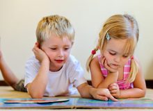 Preschool book reading children Royalty Free Stock Photo