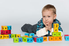 Preschool boy with blocks Royalty Free Stock Photo