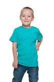 Preschool boy in a blue shirt Stock Photos