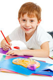 Preschool boy drawing Royalty Free Stock Photography