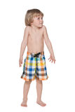 Preschool boy getting ready for swimming Royalty Free Stock Image