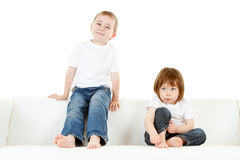 Preschool boy and girl Royalty Free Stock Photography