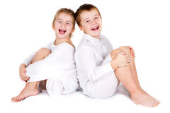 Preschool boy and his sister Stock Image