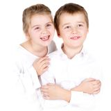 Preschool boy and his sister Stock Photo