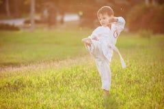 Preschool boy practicing karate. Stock Photography