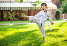 Preschool boy practicing karate Royalty Free Stock Photography