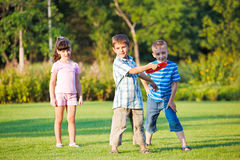 Preschool boy throwing frisbie Stock Images