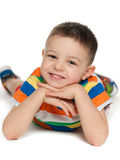 Preschool boy on the white background Royalty Free Stock Images