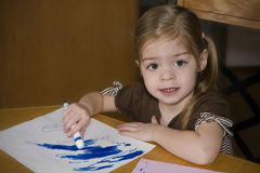 Preschool Child drawing stock images