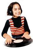 Preschool child with headphones and plate Stock Photos