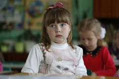 A preschool child is a little sad royalty free stock photography