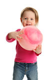 Preschool child playing with a ball Stock Photo