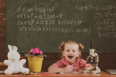 Preschool child sit at desk on chalkboard background. Little girl of preschool age in classroom, vintage filter.  royalty free stock photo