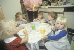 Preschool children eating breakfast, Washington, D.C. Royalty Free Stock Photography