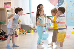 Children have a fun at birthday party. Preschool children have a fun at birthday party stock photos