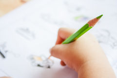 Preschool children is painting Stock Image