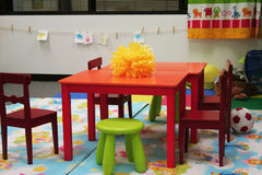 Preschool Classroom. After class. Daycare with table and chairs Royalty Free Stock Images