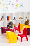 Preschool classroom. Portrait of an empty preschool classroom stock image