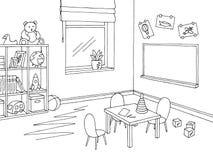 Preschool classroom graphic black white interior sketch illustration vector. Preschool classroom graphic black white interior sketch illustration royalty free illustration